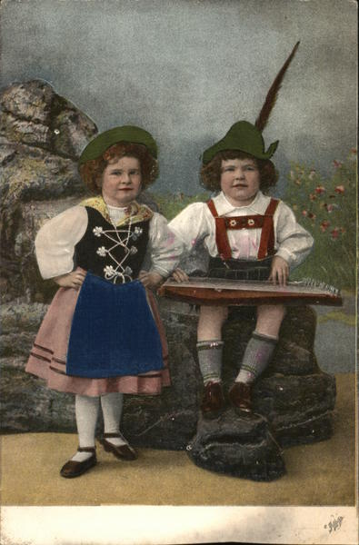 Two Children in Traditional Clothes Silk & Fabric Applique