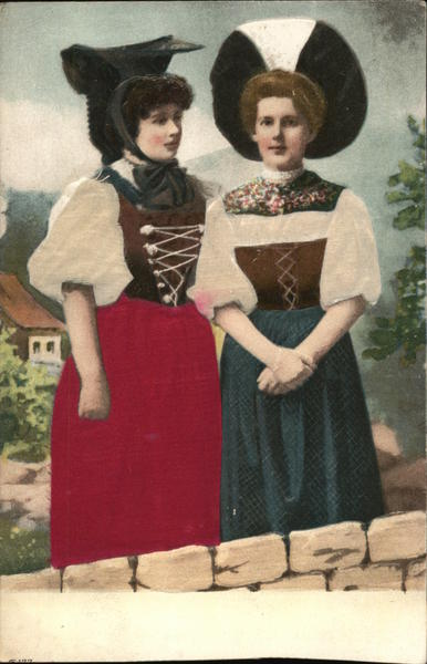 Two Women in Traditional Clothing Scandinavian Silk & Fabric Applique