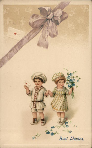 Boy and girl hold hands while girl holds flowers