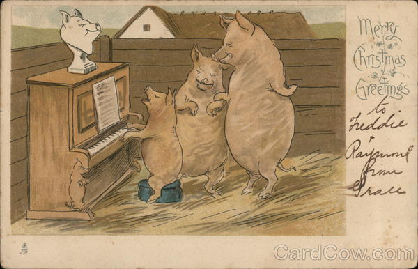 Pigs Singing Around Piano Pianos