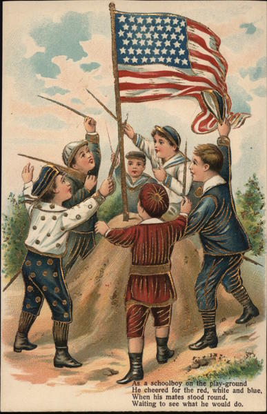 Boys and the American flag Patriotic