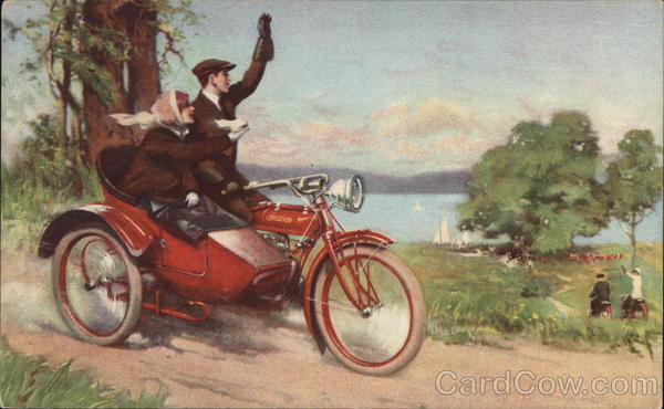 Couple on a Indian Motorcycle w/Sidecar Motorcycles
