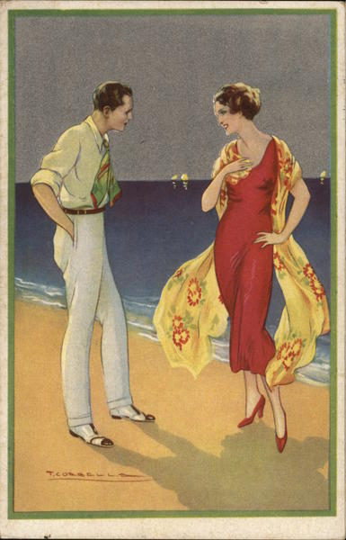 Art Deco Dressed Up Couple on Beach Tito Corbella Artist Signed