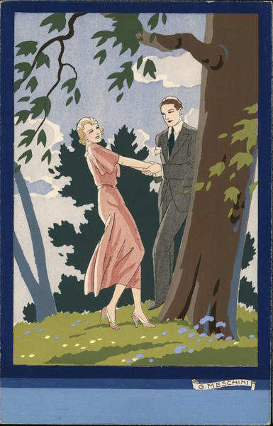 Art Deco Man and Woman Standing By Tree Holding Hands