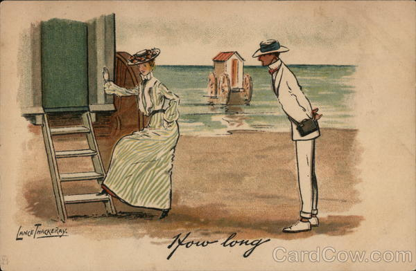 Woman Entering Bathing Machine and Man on Seashore Asking How Long