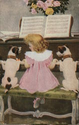 The Trio - Girl at Piano with 2 Dogs