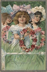 3 Young Girls Holding Flower Wreaths