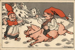 Gnome on a Pig delivering mail