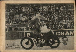 "Two Men Motorcycle Stunting Les ""Celmar"" Postcard"