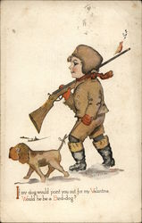 Boy carrying rifle walking with dog