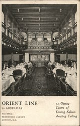 S. S. Otway, Centre of Dining Saloon Showing Ceiling, Orient Line to Australia