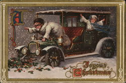Christmas card with two children in an antique car in the snow