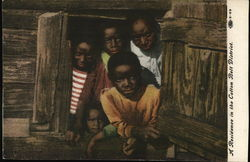 Five black children look out of a window