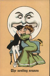 Couple Kissing on a Bench. Moon smiling behind. Postcard