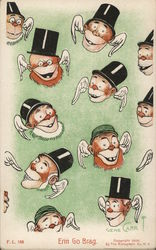 Funny heads with angel wings and top hats