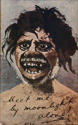 "Painting of Scary Man (Neanderthal?) ""Meet me by Moonlight alone!"""