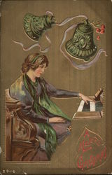 A Merry Christmas - Woman at Piano
