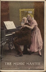 Bald man plays piano while being hugged by woman