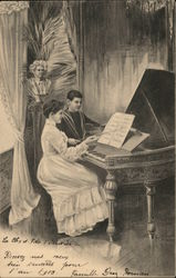 Woman and Boy with Piano and Violin