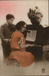 Girl Playing Piano and Boy Playing Violin