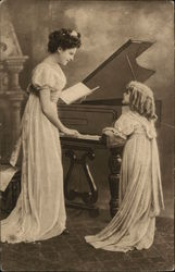 Woman plays piano as child looks on