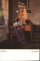 Woman in a Pink Dress Playing the Piano