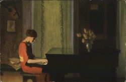 A Woman in Red Plays the Piano
