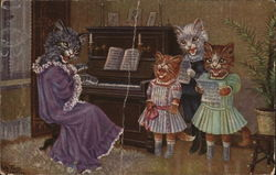Cats in Clothes Singing and Playing Piano