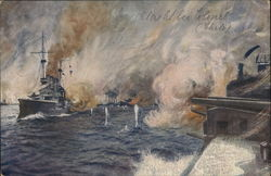 German Navy Ship Battle Painting by A. Hubert