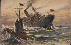 German Ships in Stormy Sea