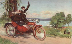 Couple on a Indian Motorcycle w/Sidecar Postcard