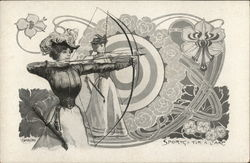 Women Performing Archery with Bows Drawn