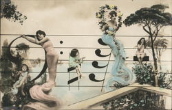 Women resting on musical notes, Bass Clef