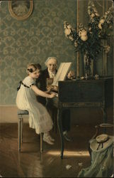 Man and Girl Playing Piano