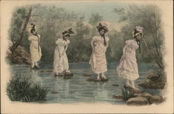 Four women Crossing River on Stones