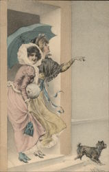 Two Women Under Parasol with Dog