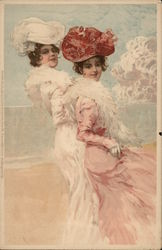 Two ladies with fancy dresses and hats