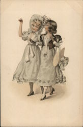 Two Girls in Bonnets Walking Postcard