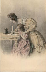 Mother Teaching Girl to Write