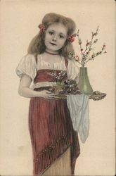 Girl With A Tray Of Flowers