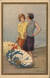 Art Deco Two women in beach with umbrellas