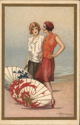Art Deco Two Flapper Women with Asian Parasols