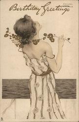Birthday Greetings - Woman in White Dress, Flowers