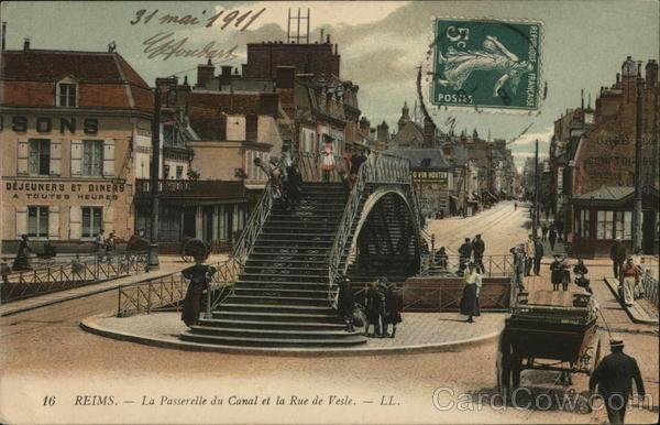 La Passerrelle du Canal et la Rue de Vesle
