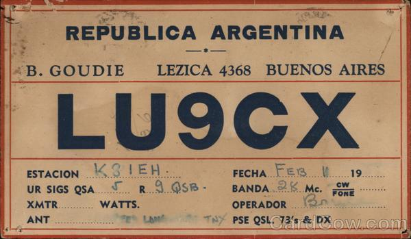 QMF Card for Ham Radio Call Letters LU9CX, Buenos Aires Argentina