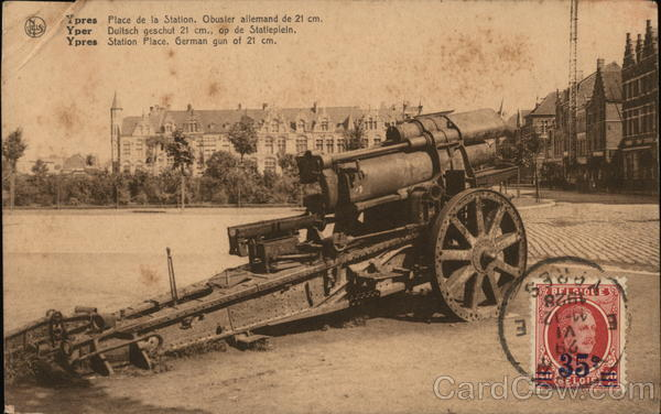 Ypres Station Place, German gun of 21 cm. Belgium Benelux Countries