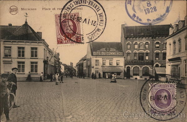 Mouscron Place et Rue de Courtrai Belgium Benelux Countries