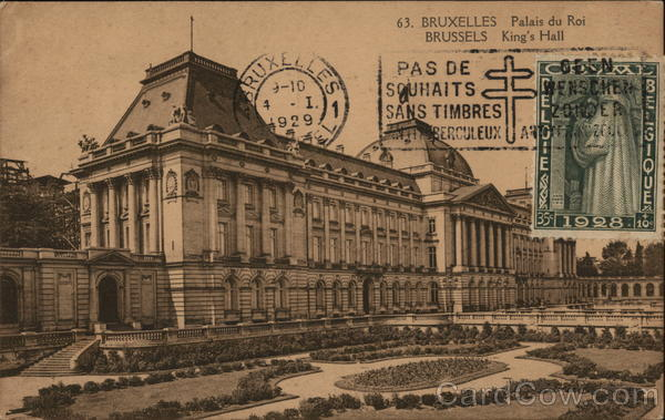 Palais du Roi Brussels Belgium Benelux Countries Cancelled on Front (COF)