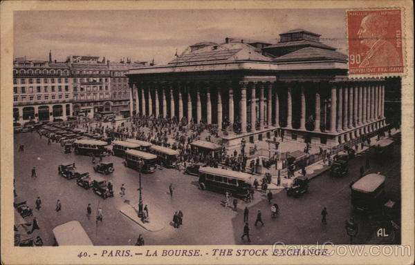 La Bourse - The Stock Exchange Paris France Cancelled on Front (COF)