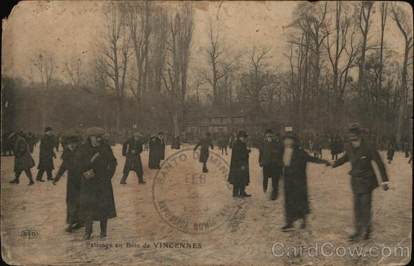 Ice Skating Vincennes France Cancelled on Front (COF)